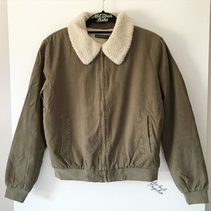 Brandy Melville olive green fur Nelson jacket
